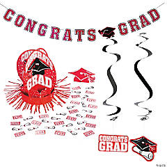 Red Graduation Party Room Decorating Kit