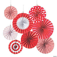 Red Hanging Paper Fan Assortment