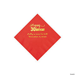Red Happy 30th Birthday Personalized Napkins with Gold Foil - Beverage