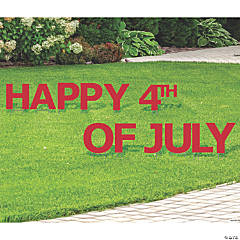 Red Happy 4th of July Yard Sign