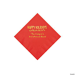 Red Happy Holidays Personalized Napkins with Gold Foil – Beverage