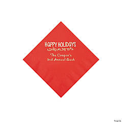 Red Happy Holidays Personalized Napkins with Silver Foil – Beverage