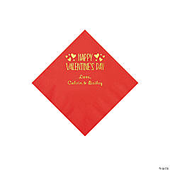 Red Happy Valentine's Day Personalized Napkins with Gold Foil - Beverage