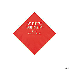 Red Happy Valentine's Day Personalized Napkins with Silver Foil - Beverage
