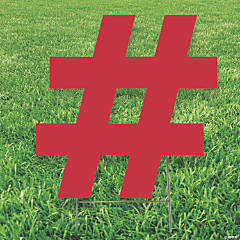 Red Hashtag # Yard Sign
