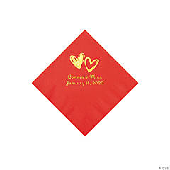 Red Hearts Personalized Napkins with Gold Foil - Beverage