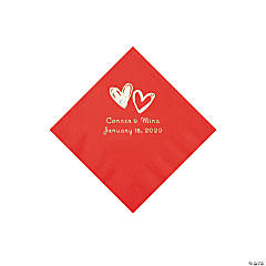 Red Hearts Personalized Napkins with Silver Foil - Beverage
