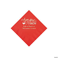 Red I Love You, I Know Personalized Napkins with Silver Foil - Beverage