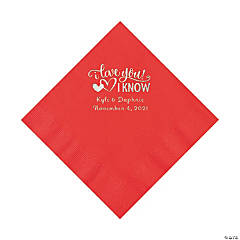 Red I Love You, I Know Personalized Napkins with Silver Foil - Luncheon