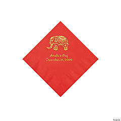 Red Indian Wedding Personalized Napkins with Gold Foil - Beverage