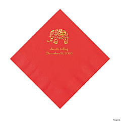 Red Indian Wedding Personalized Napkins with Gold Foil - Luncheon