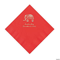 Red Indian Wedding Personalized Napkins with Silver Foil - Luncheon