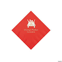 Red Just Married Personalized Napkins with Silver Foil - Beverage