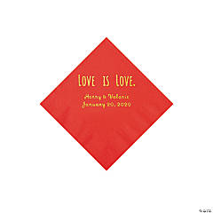 Red Love is Love Personalized Napkins with Gold Foil - Beverage