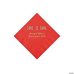 Red Love is Love Personalized Napkins with Silver Foil - Beverage