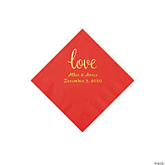 Red Love Script Personalized Napkins with Gold Foil - Beverage