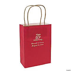 Red Medium 50th Anniversary Personalized Kraft Paper Gift Bags with Silver Foil