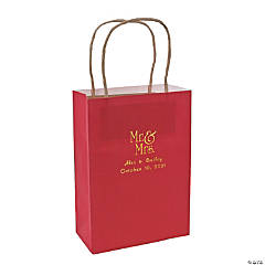 Red Medium Mr. & Mrs. Personalized Kraft Paper Gift Bags with Gold Foil