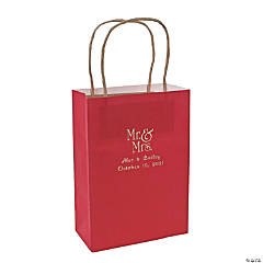 Red Medium Mr. & Mrs. Personalized Kraft Paper Gift Bags with Silver Foil