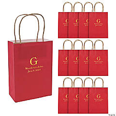 Red Medium Personalized Monogram Welcome Gift Bags with Gold Foil