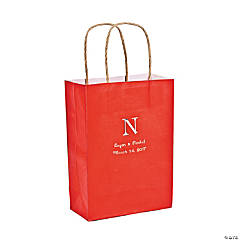 Red Medium Personalized Monogram Welcome Gift Bags with Silver Foil