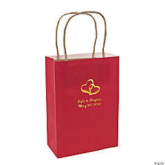 Red Medium Two Hearts Personalized Kraft Paper Gift Bags with Gold Foil
