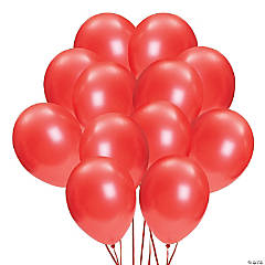 "Red Metallic 11"" Latex Balloons"