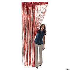 Red Metallic Fringe Curtain