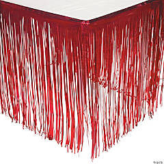 Red Metallic Fringe Plastic Table Skirt