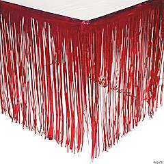 Red Metallic Fringe Plastic Table Skirt