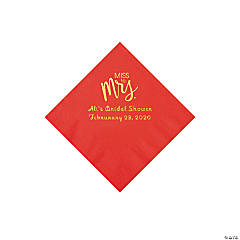 Red Miss to Mrs. Personalized Napkins with Gold Foil - Beverage