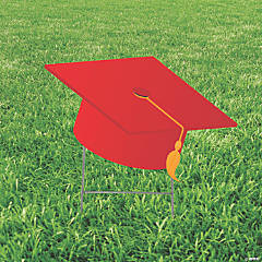 Red Mortarboard Hat Yard Sign