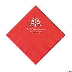 Red Movie Night Personalized Napkins with Silver Foil – Luncheon