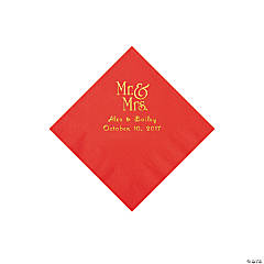 Red Mr. & Mrs. Personalized Napkins with Gold Foil – Beverage