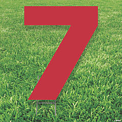 Red Number 7 Yard Sign