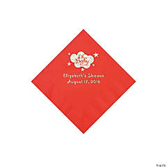 Red Oh Baby Personalized Napkins with Silver Foil - Beverage