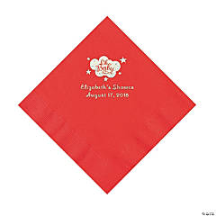 Red Oh Baby Personalized Napkins with Silver Foil – Luncheon
