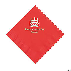 Red Personalized Birthday Cake Napkins with Silver Foil - Luncheon