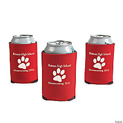Red Personalized Paw Print Can Coolers