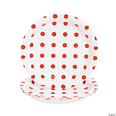 Red Polka Dot Paper Dessert Plates - 8 Ct.