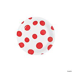 Red Polka Dot Round Paper Dessert Plates