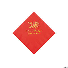 Red Rose Personalized Napkins with Gold Foil - Beverage