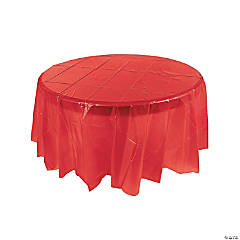 Red Round Plastic Tablecloth