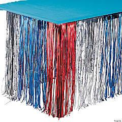 Red, Silver & Blue Metallic Fringe Plastic Table Skirt
