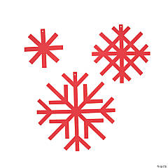 Red Snowflake Glitter Decorations