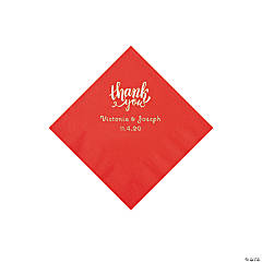 Red Thank You Personalized Napkins with Silver Foil - Beverage