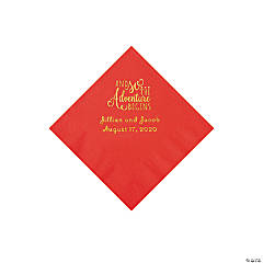 Red The Adventure Begins Personalized Napkins with Gold Foil - Beverage