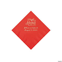 Red The Adventure Begins Personalized Napkins with Silver Foil - Beverage
