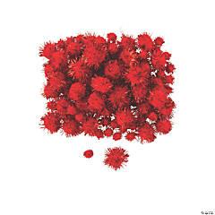 Red Tinsel Pom-Poms