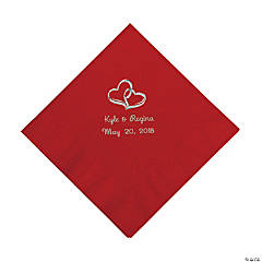 Red Two Hearts Personalized Napkins with Silver Foil - Luncheon